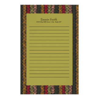De gepersonaliseerde Groene Oranje Kastanjebruine Briefpapier