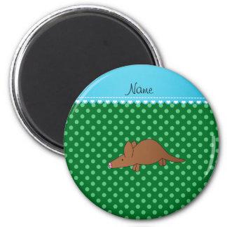 De gepersonaliseerde groene stippen van het ronde magneet 5,7 cm