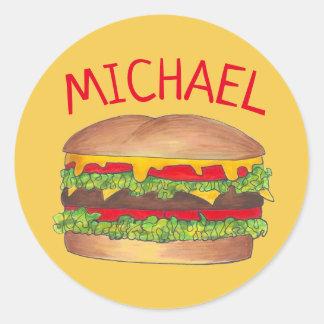De gepersonaliseerde Hamburger Foodie van de Ronde Sticker