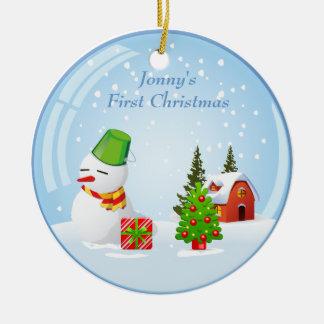 De gepersonaliseerde Leuke Sneeuwbal van Eerste Rond Keramisch Ornament