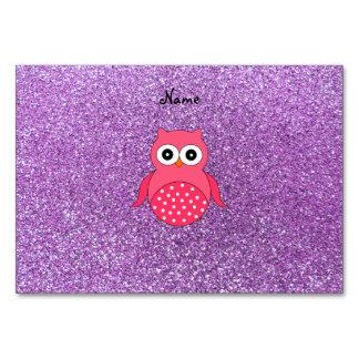 De gepersonaliseerde lichtpaarse naam roze uil sch kaart