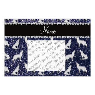 De gepersonaliseerde marineblauwe naam zilveren fotoprints