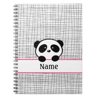 De gepersonaliseerde Panda draagt Roze Zwart Notitieboek