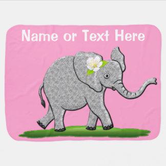 De gepersonaliseerde Roze deken van de Olifant met Inbakerdoek
