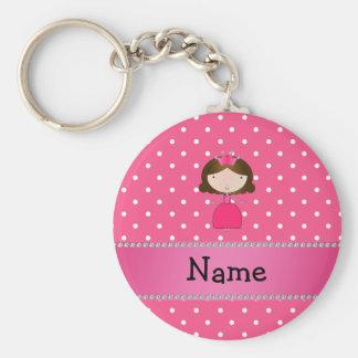 De gepersonaliseerde roze stippen van de naam roze sleutelhangers