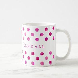 De gepersonaliseerde Roze Stippen van de Waterverf Koffiemok
