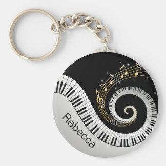 De gepersonaliseerde Sleutels van de Piano en de Basic Ronde Button Sleutelhanger