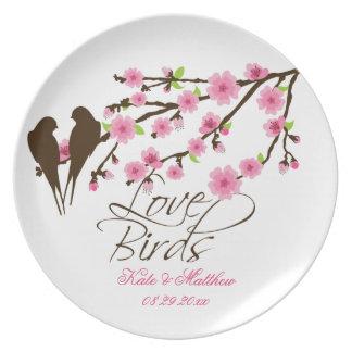 De Gepersonaliseerde Vogels van de liefde en de Bl Melamine+bord