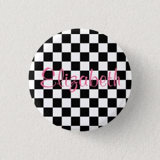 De gepersonaliseerde Zwart-witte Knoop van het Ronde Button 3,2 Cm