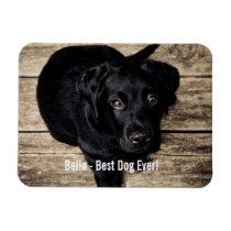 De gepersonaliseerde Zwarte Foto van de Hond van Rechthoekige Magneet