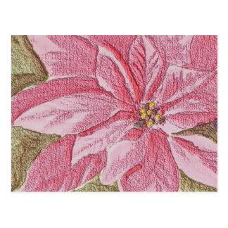 De geschilderde Bloem van Kerstmis van Poinsettia Briefkaart