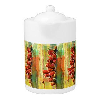De geschilderde Pot van de Thee van de Cactus van