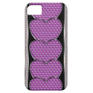De gestapelde Harten van het Juweel in Roze Barely There iPhone 5 Hoesje