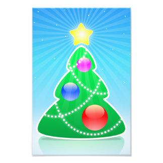 De gestileerde illustratie van de Kerstboom Foto Prints