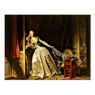 De gestolen Kus, die door Jean-Honore Fragonard Briefkaart