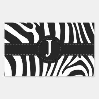 De gestreepte aanvankelijke J douane van het Rechthoek Sticker