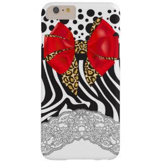 De Gestreepte Druk van Glam, Stippen en de Rode Barely There iPhone 6 Plus Hoesje