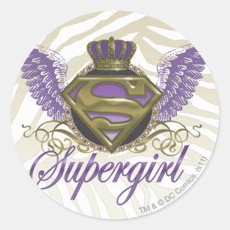 De Gestreepte Druk van Supergirl Ronde Sticker
