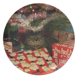 De gestreepte kat van de tijger onder Kerstboom Diner Bord