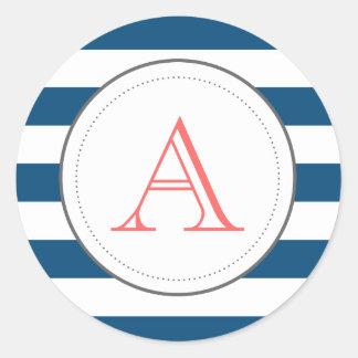 De Gestreepte Sticker Mongram van de marine