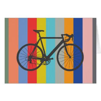 De Gestreepte Veelkleurige Regenboog van de fiets Wenskaart