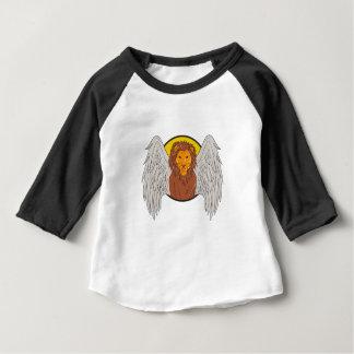 De gevleugelde Tekening van de Cirkel van de Leeuw Baby T Shirts