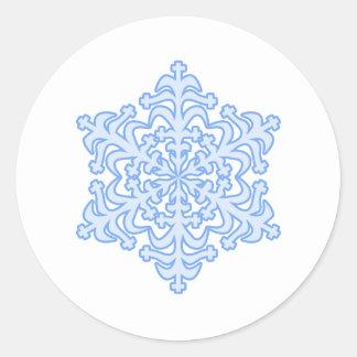De gevoelige Ijzige Blauwe Sneeuwvlok van Kerstmis Ronde Sticker
