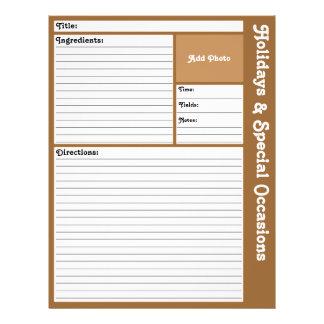 De gevoerde (Bruine) Pagina's van het Recept Flyer 21,6 X 27,9 Cm
