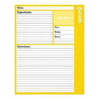 De gevoerde (Gele) Pagina's van het Recept Flyer 21,6 X 27,9 Cm
