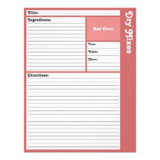 De gevoerde Pagina's van het Recept (nam toe) Flyer 21,6 X 27,9 Cm