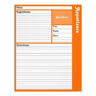 De gevoerde Pagina's van het Recept (Sinaasappel) Flyer 21,6 X 27,9 Cm