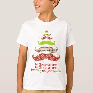 De gevormde Kleding van de Kerstboom van de Snor T Shirt