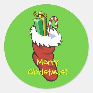 De gevulde Opslag van de Kerstman Ronde Sticker