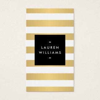 De Gewaagde Gouden en Witte Strepen Faux van Luxe