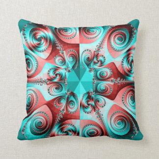 De geweldige blauwgroen en rode fractal druk werpt sierkussen