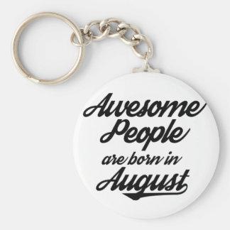 De geweldige Mensen zijn geboren in Augustus Basic Ronde Button Sleutelhanger