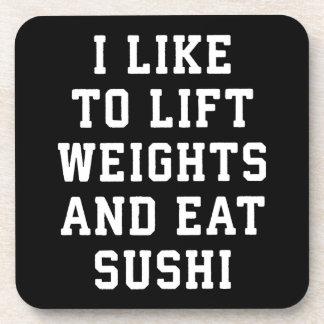 De Gewichten van de lift en eten Sushi - de Onderzetter