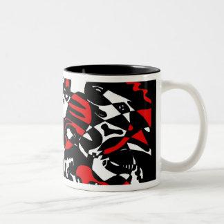 """De """"gezichten"""" vatten Art. samen Tweekleurige Koffiemok"""