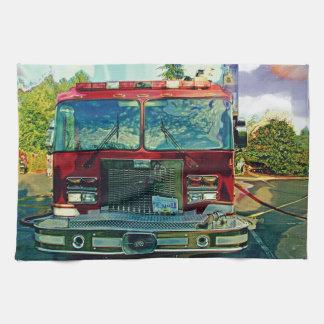 De Gift van de Kunst van de rode Brandweerman van  Theedoeken