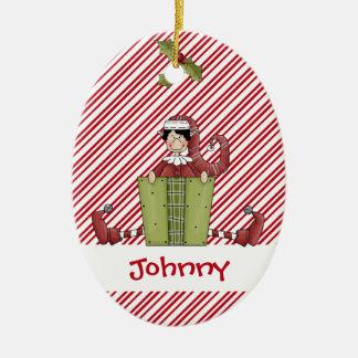 De Gift van de Vriend van het Elf van de kersttijd Keramisch Ovaal Ornament