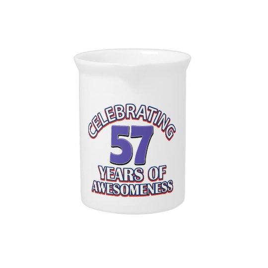 de giften van de 57 éénjarigenverjaardag bier pitcher