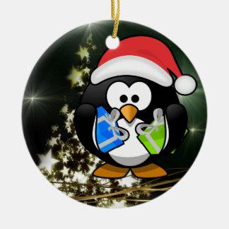 De giften van de pinguïn rond keramisch ornament