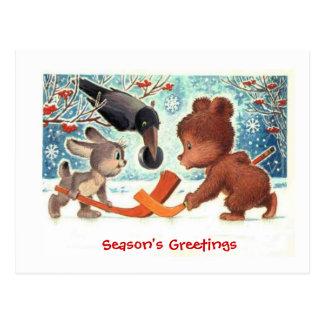 De giften van Kerstmis, Dieren die ijshockey Briefkaart