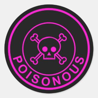 De giftige roze zwarte sticker van de