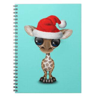 De Giraf die van het baby een Pet van de Kerstman Ringband Notitieboek
