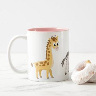 De Giraf en het Zebra van het dierenvriend Tweekleurige Koffiemok