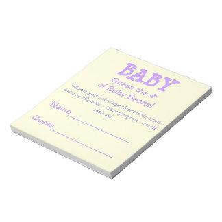 De Gissing van het baby shower # van de Bonen van Notitieblok