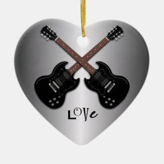 De gitaren houden van Hart Gevormd Ornament te