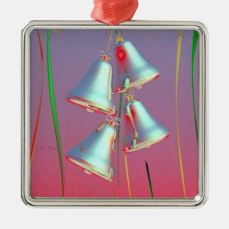 De glanzende Zilveren Klokken van de Vakantie Zilverkleurig Vierkant Ornament