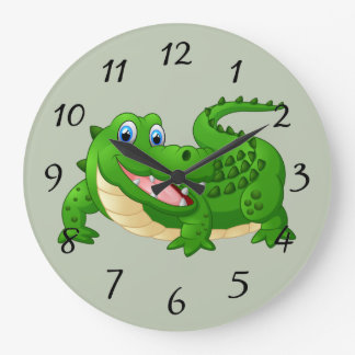 De glimlachende Cartoon van de Krokodil Grote Klok